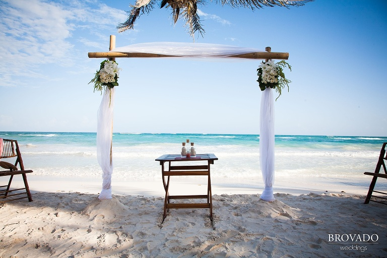 Wedding arch on beach in Mexico