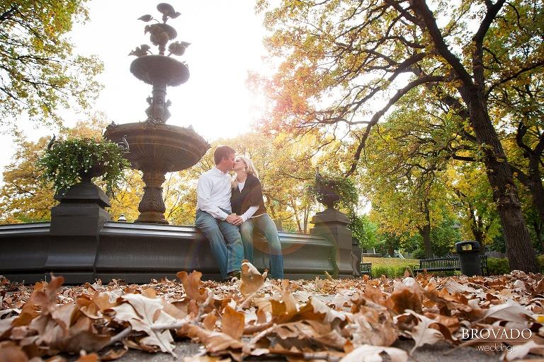 sweet kiss among fall leaves