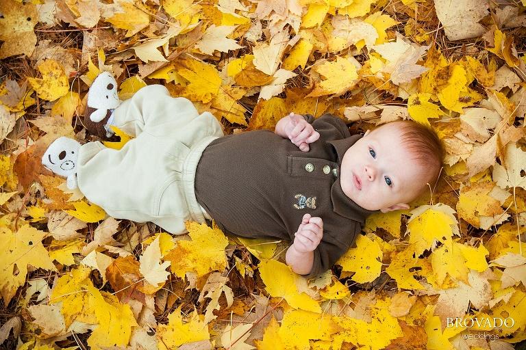 newborn lays among yellow fall leaves