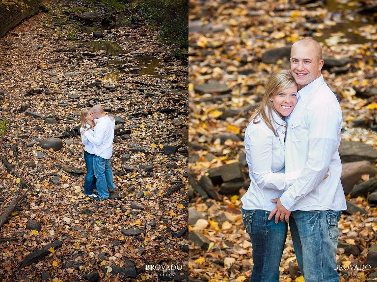 couples poses for fall engagement