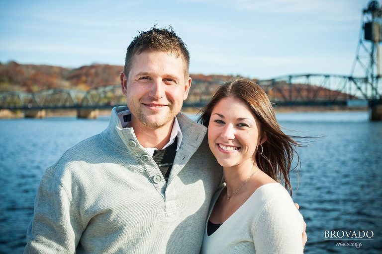 engaged couple in front of stillwater lift bridge