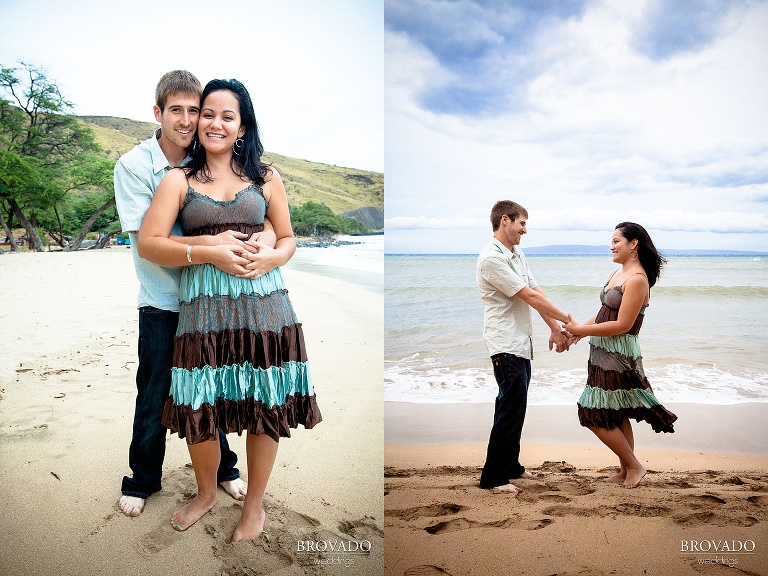 cute maui engagement poses on the beach