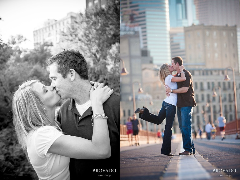 kissing engagement photography in minneapolis