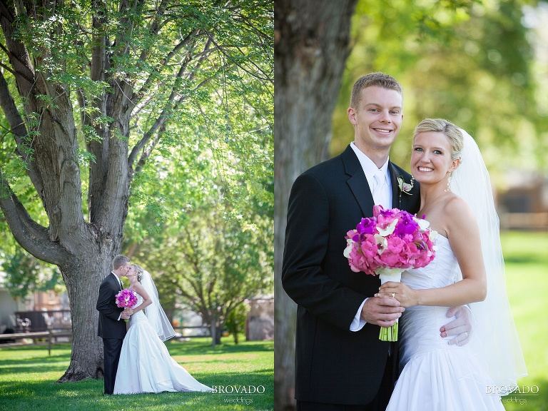 wedding photography of smiling bride and groom