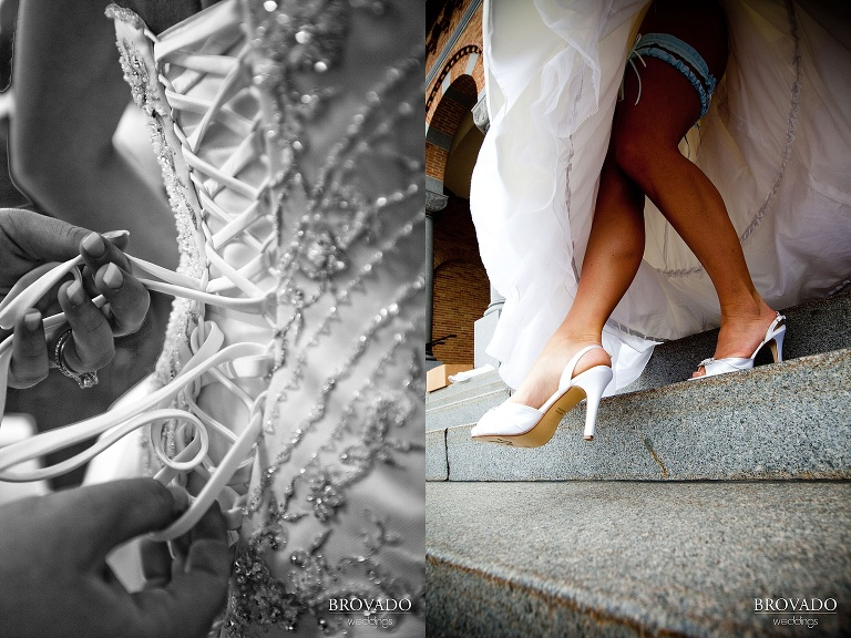 details of bride's white dress and shoes