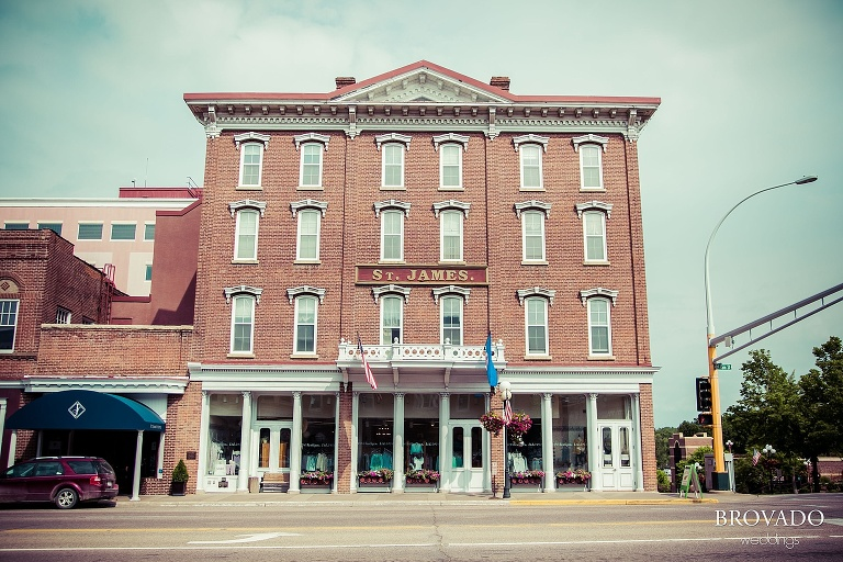 Wedding photography at the St. James Hotel in Red Wing Minnesota