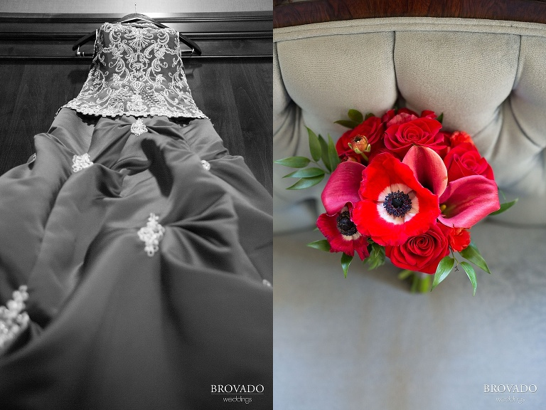 Untraditional aviation wedding with a red dress on a sunny day at the Gale Mansion in Minneapolis Minnesota