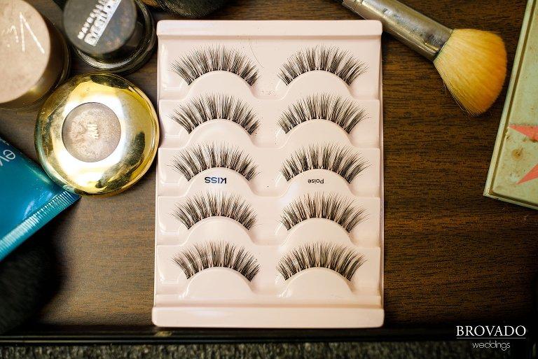 Fake eyelashes ready for bride's makeup
