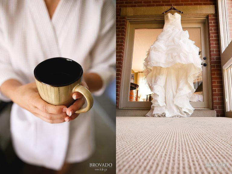 Annie holding her wedding day cup of coffee