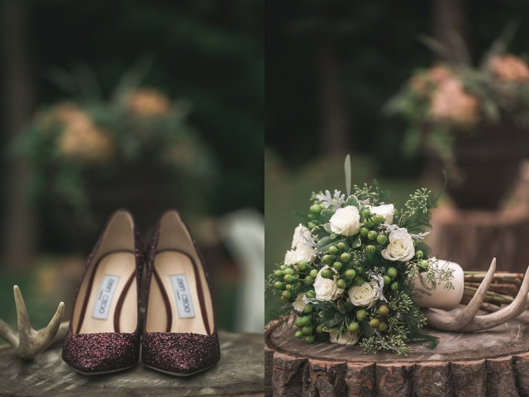 Detail of antlers, sparkly maroon wedding heels, and bouquet