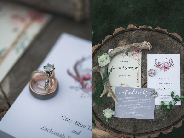 Detail of wedding rings and invitations