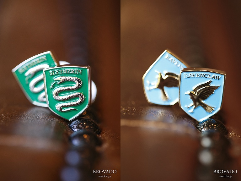 Detail of slytherin and ravenclaw cufflinks