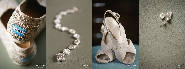 Details of wedding heels, toms, and jewelry