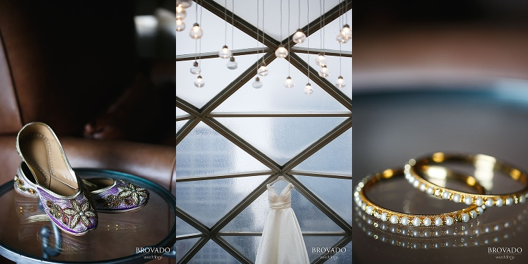 Details of Jenna's wedding dress and bridal jewelry