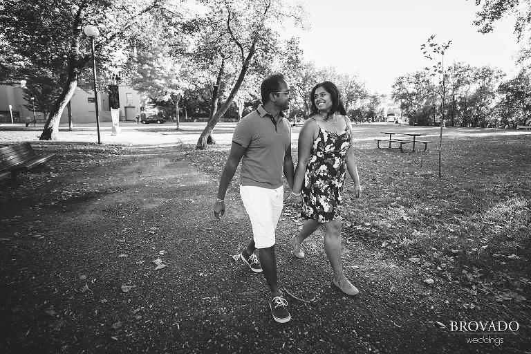 Couple walking through Minneapolis park