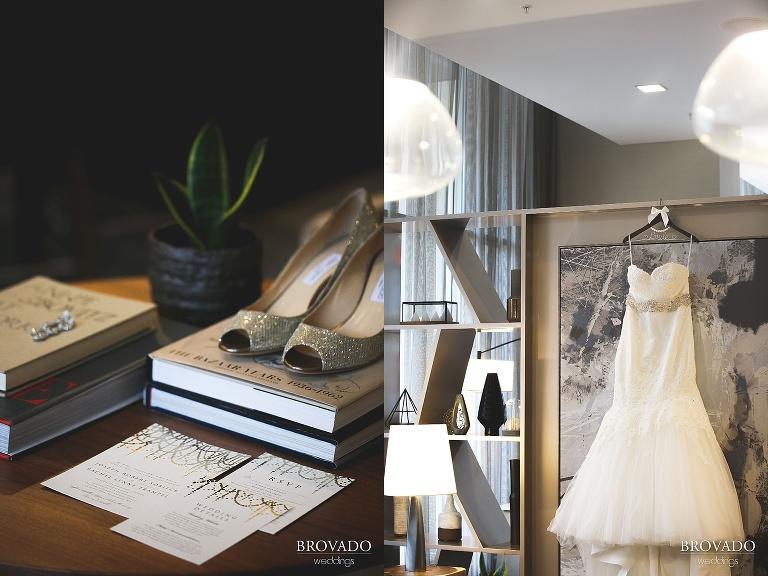 Wedding dress and invitation details