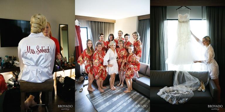 Rachel and bridesmaids in coordinating robes