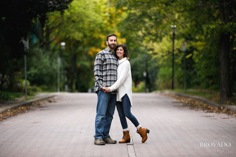 Stephanie and Loren's fall engagement at boom island park