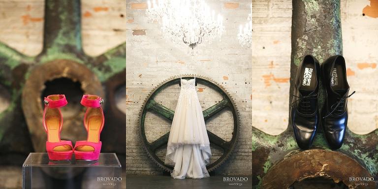 Details of wedding dress and hot pink heels