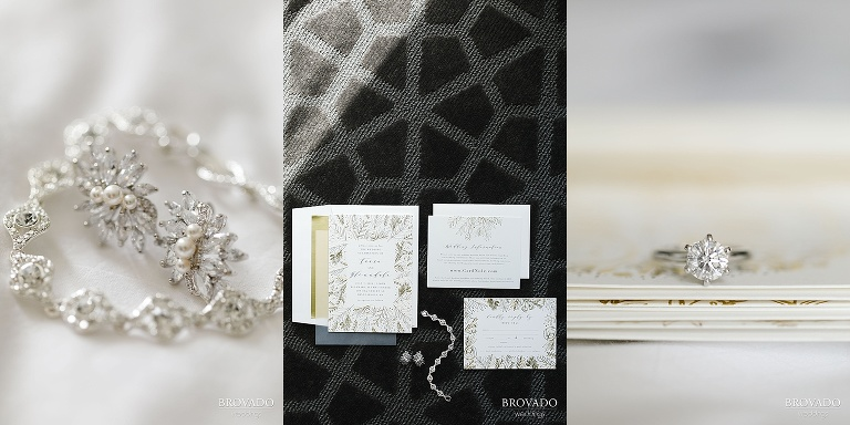 Wedding jewelry and invitation details