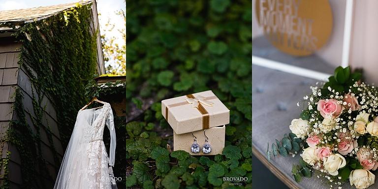 Sarah's wedding dress, earrings, and bouquet